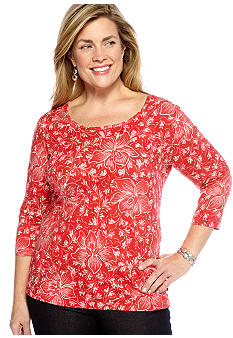 Jones New York Sport Plus Size 3/4 Sleeve Scoop Neck Top