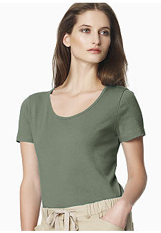 Jones New York Sport Petite Solid Scoop Neck Tee