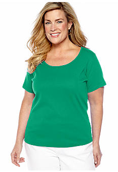 Jones New York Sport Plus Size Solid Scoop Neck Tee