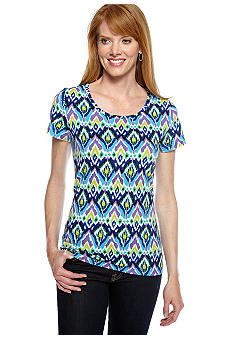 Jones New York Sport Petite Scoop Neck Printed Knit Top