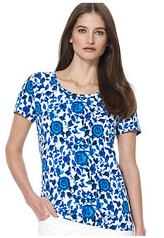 Jones New York Sport Floral Print Scoop Neck Top