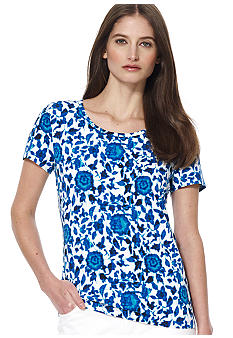 Jones New York Sport Petite Printed Scoop Neck Tee