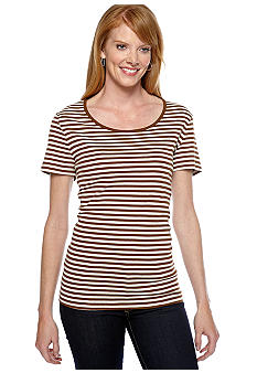 Jones New York Sport Striped Scoop Neck Top