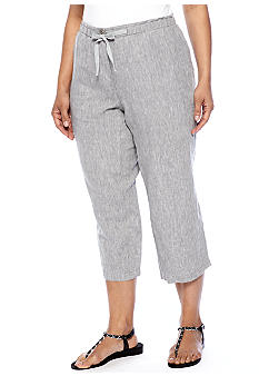 Jones New York Sport Plus Size Linen Ankle Pant