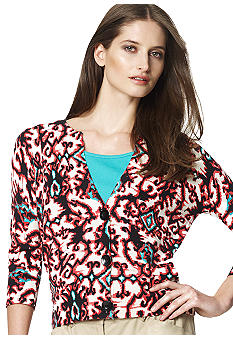 Jones New York Sport Printed Split Neck Cardigan