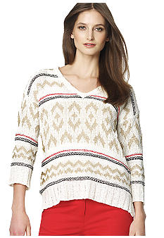 Jones New York Sport 3/4 Sleeve Tribal Print Jacquard Sweater