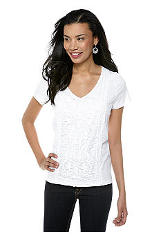 Jones New York Sport Flutter Sleeve Lace Tee