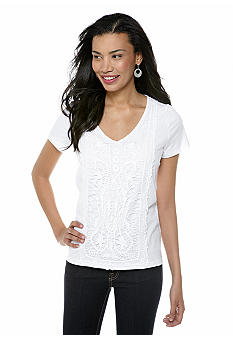 Jones New York Sport Petite Flutter Sleeve Lace V-Neck