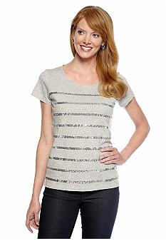 Jones New York Sport Sequin Stripe Tee