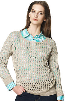 Jones New York Sport Zigzag Stitch Boat Neck Sweater