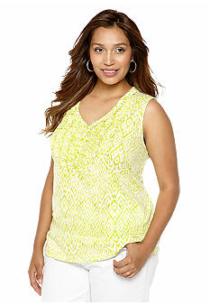 Jones New York Sport Plus Size Sleeveless Ruffle V-Neck Tank