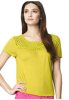 Jones New York Sport Crochet Yoke Knit Top