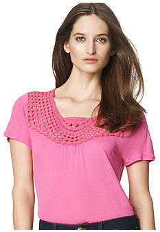 Jones New York Sport Petite Crochet Yoke Knit Top