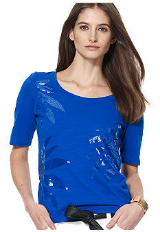 Jones New York Sport Petite Scoop Neck Top with Sequins