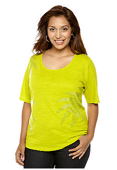 Jones New York Sport Plus Size Sequin Detailed Tee