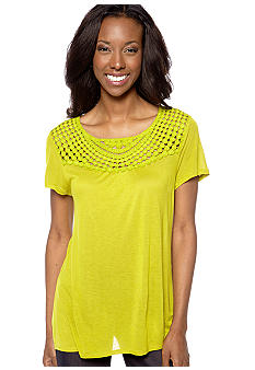Jones New York Sport Crochet Neck Knit Top