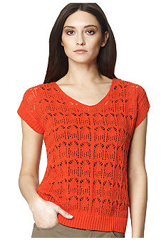 Jones New York Sport Short Sleeve Crochet Sweater