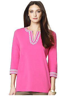Jones New York Sport Split Neck Embellished Tunic