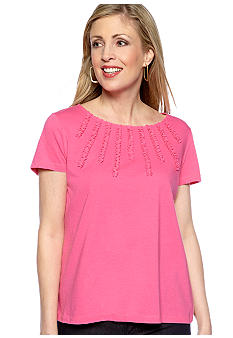 Jones New York Sport Embellished Neckline Knit Top