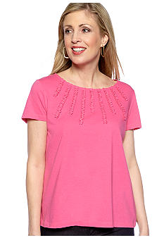 Jones New York Sport Petite Embellished Neckline Knit Top