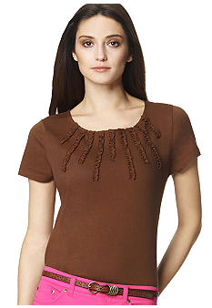 Jones New York Sport Plus Size Embellished Neckline Knit Top