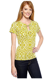 Jones New York Sport Short Sleeve Split Neck Knit Top
