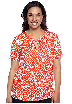 Jones New York Sport Plus Size Tribal Stripes Printed Top