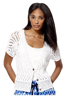 Jones New York Sport Crop V Neck Cardigan