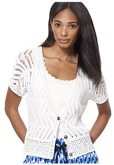 Jones New York Sport Petite Crop V Neck Cardigan