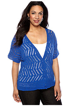 Jones New York Sport Plus Size Open Stitched Short Sleeve Cardigan