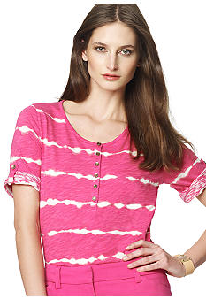 Jones New York Sport Tie Dye Stripe Scoop Neck Top
