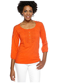 Jones New York Sport Knit Top With Crochet Shoulders