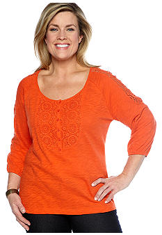 Jones New York Sport Plus Size Knit Top With Crochet Applique