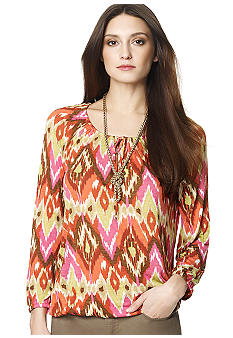 Jones New York Sport Printed Peasant Sleeve Top