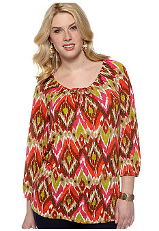 Jones New York Sport Plus Size Printed Peasant Shirt
