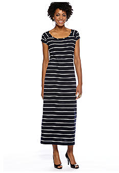 Jones New York Sport Short Sleeve Stripe Dress