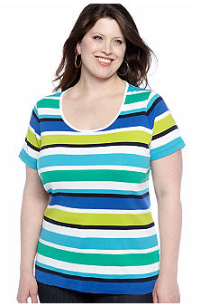 Jones New York Sport Plus Size Stripe Tee With Scoop Neckline
