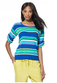 Jones New York Sport Striped Roll-Tab Sleeve Sweater