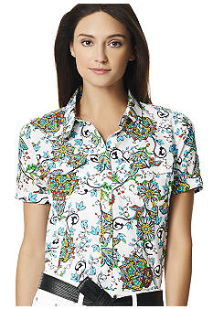 Jones New York Sport Printed Camp Shirt