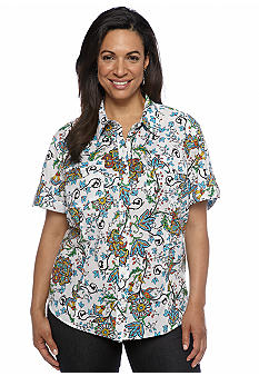 Jones New York Sport Plus Size Printed Camp Shirt