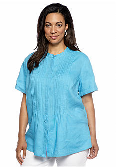 Jones New York Sport Plus Size Short Sleeve Shirt With Hidden Placket