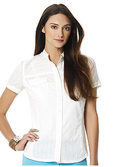 Jones New York Sport White Button Short Sleeve Shirt