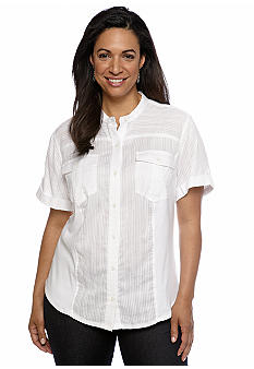 Jones New York Sport Plus Size Banded Collar Shirt