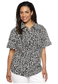 Jones New York Sport Plus Size Zebra Print Camp Shirt