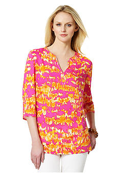 Jones New York Sport Printed Split Neck Tunic