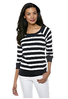 Jones New York Sport Knit Raglan Sleeve Stripe Top
