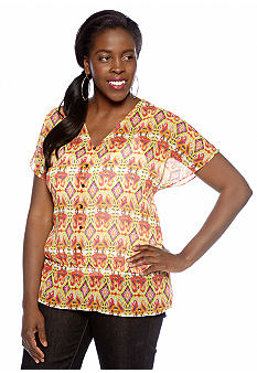 Jones New York Sport Plus Size Dolman Sleeve Peplum Top
