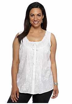 Jones New York Sport Plus Size Sleeveless Button Front Shirt
