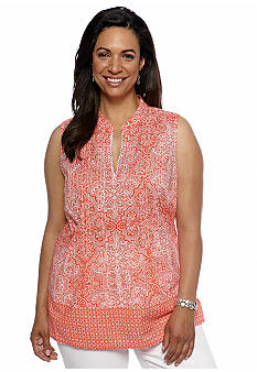 Jones New York Sport Plus Size Sleeveless Print Blouse