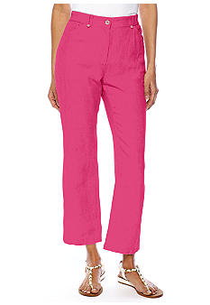 Jones New York Sport Petite Linen Crop Pant With Side Elastic
